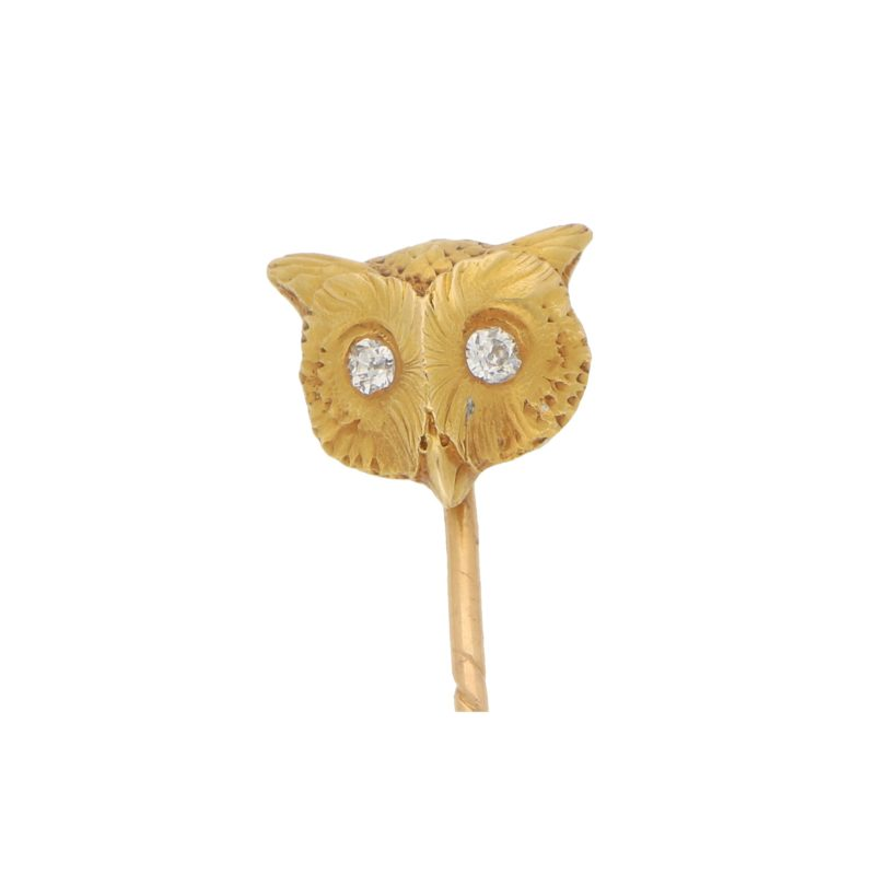 Diamond Eyed Owl Stick Pin Set in 18k Yellow Gold