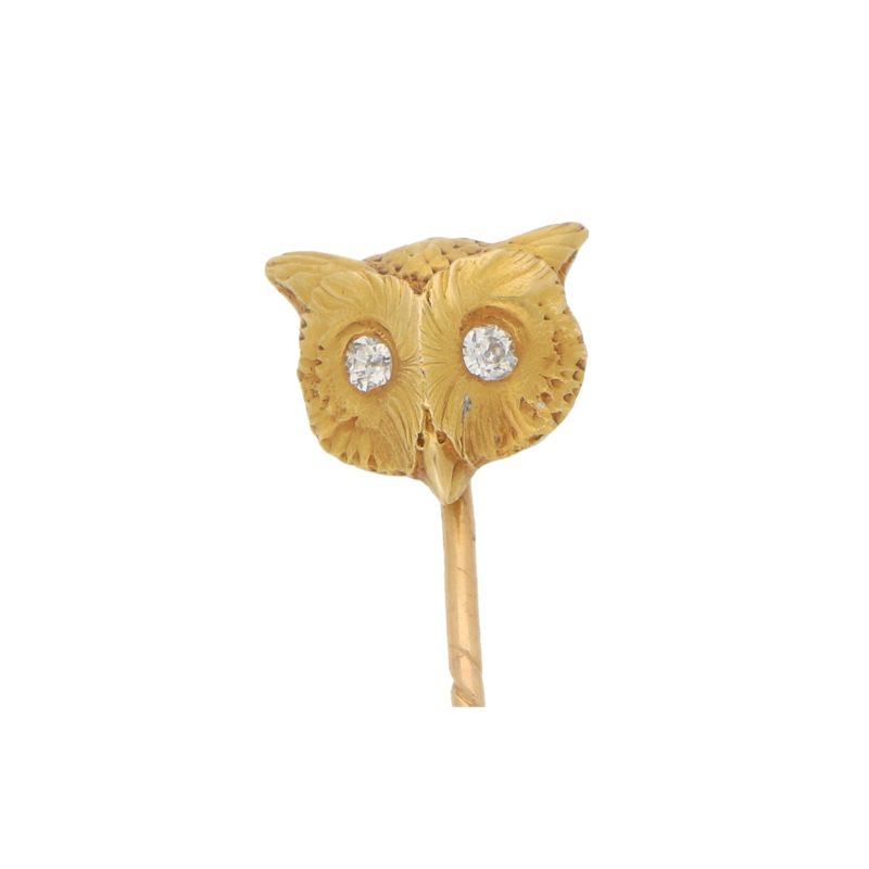 Diamond Eyed Owl Stick Pin Set in 18k Yellow Gold