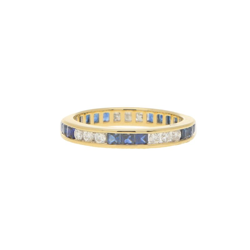 Sapphire and Diamond Full Eternity Ring in 18k Yellow Gold