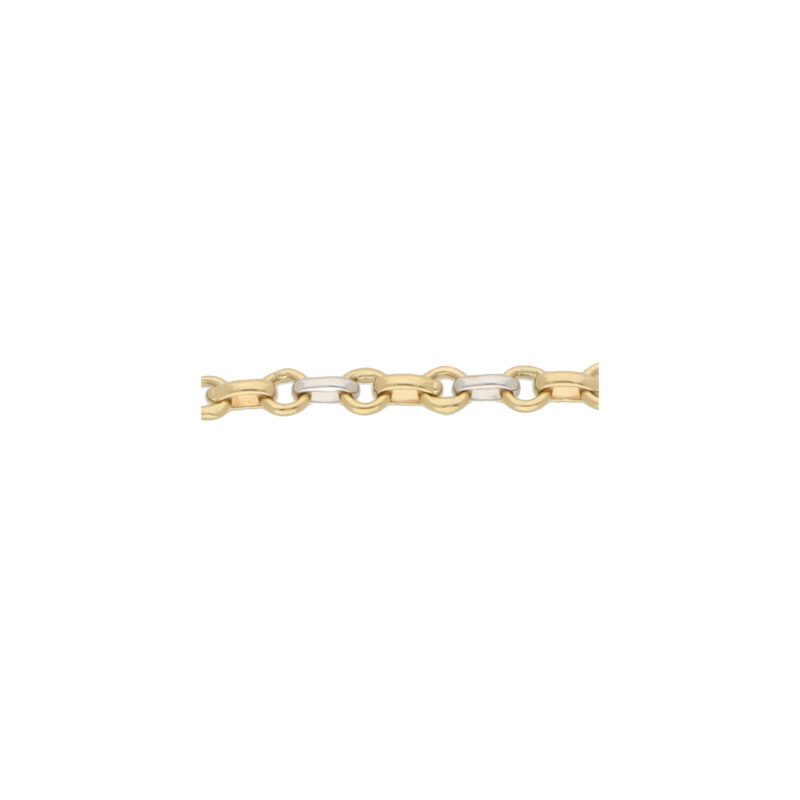 Fine Chain Link Bracelet in Yellow and White Gold