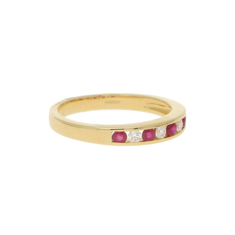 Diamond and Ruby Half Eternity Ring in 18k Yellow Gold