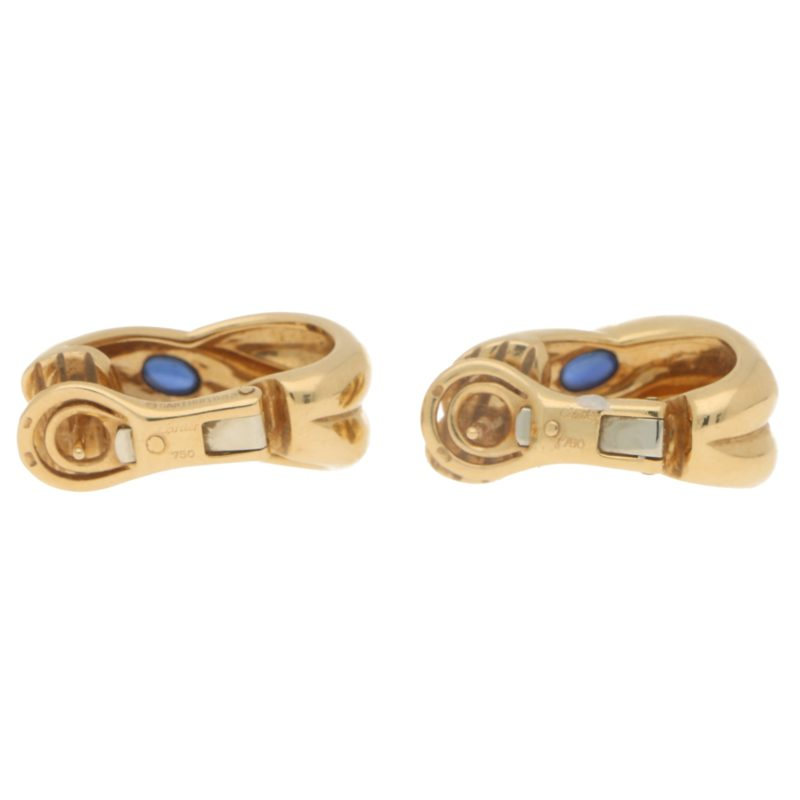 Etruscan Cartier Colisee Sapphire Earrings in Yellow Gold