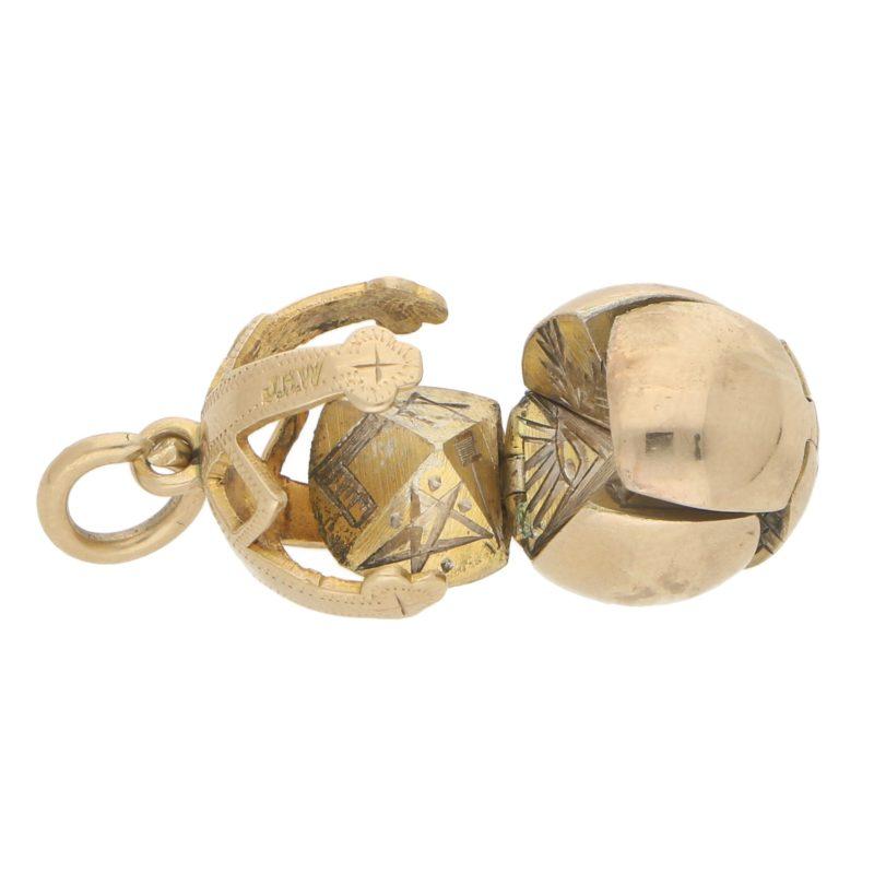 Vintage Masonic Orb Ball Charm