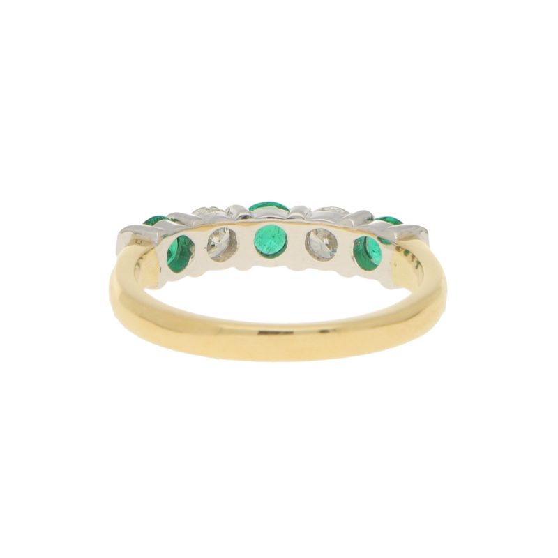 Emerald and Diamond Half Eternity Ring in 18k Gold