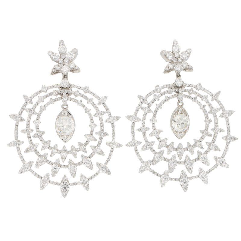 Diamond Bvlgari Drop Earrings in White Gold