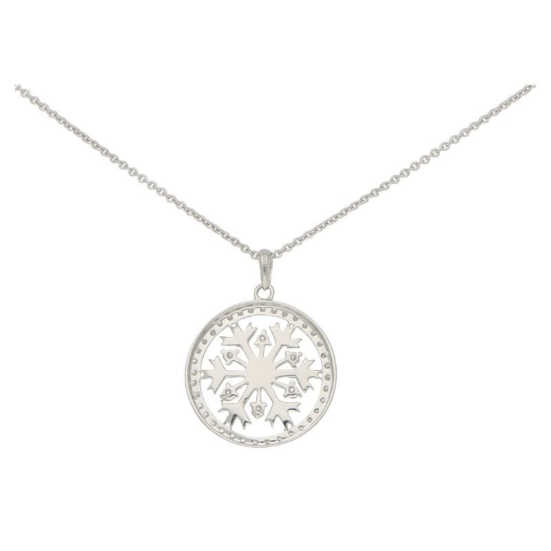 Diamond Snowflake Necklace in White Gold