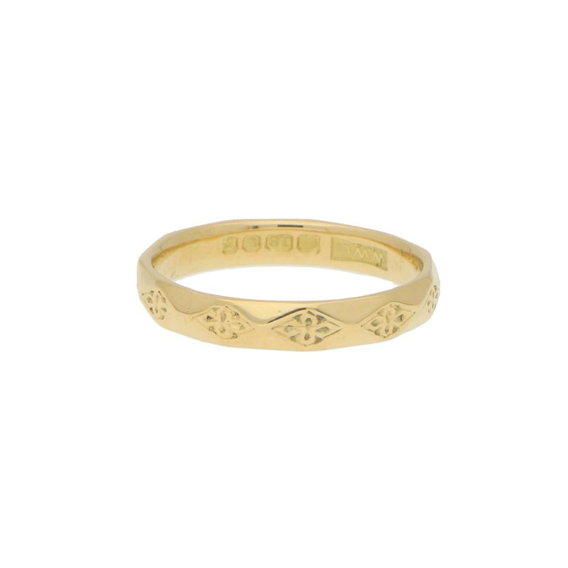 Geometric Floral Yellow Gold Band