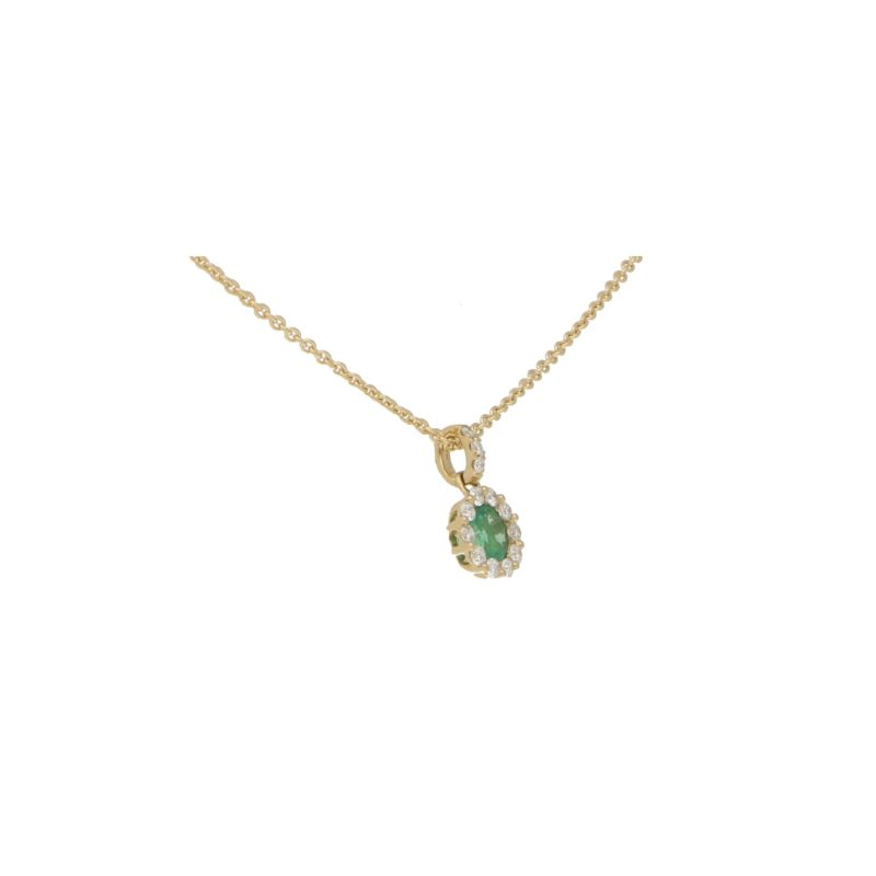 Emerald and Diamond Cluster Pendant in Yellow Gold