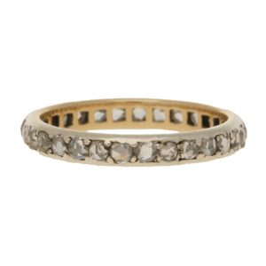 Rose Cut Diamond Full Eternity Ring in White Gold