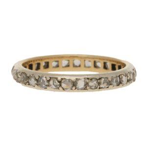Rose Cut Diamond Full Eternity Ring in White Gold