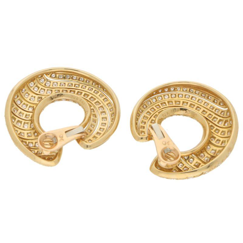 Cartier Neptune Diamond Hoop Earrings in 18k Yellow Gold