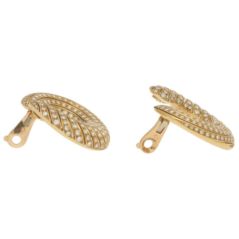 Cartier Neptune Diamond Hoop Earrings in 18k Yellow Gold