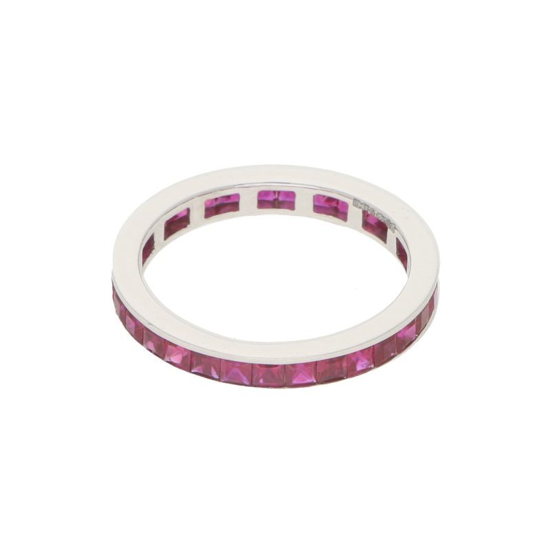Art Deco Inspired Ruby Full Eternity Ring in Platinum