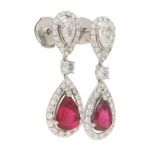 Moussaieff Ruby and Diamond Drop Earrings in Platinum