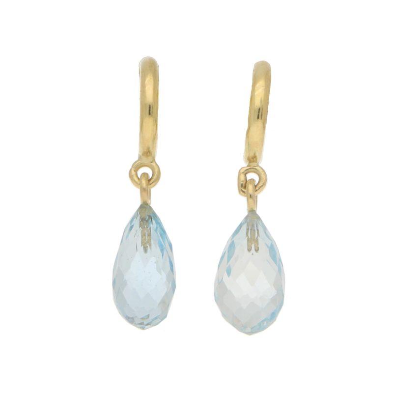 Briolette Aquamarine Half Hoop Earrings in 18k Yellow Gold