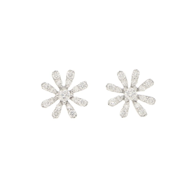 White Diamond Daisy Flower Stud Earrings