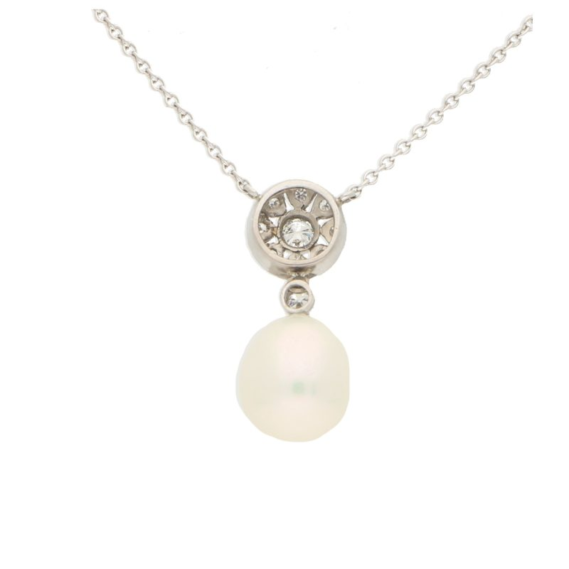 White Pearl and Diamond Geometric Floral Cluster Pendant