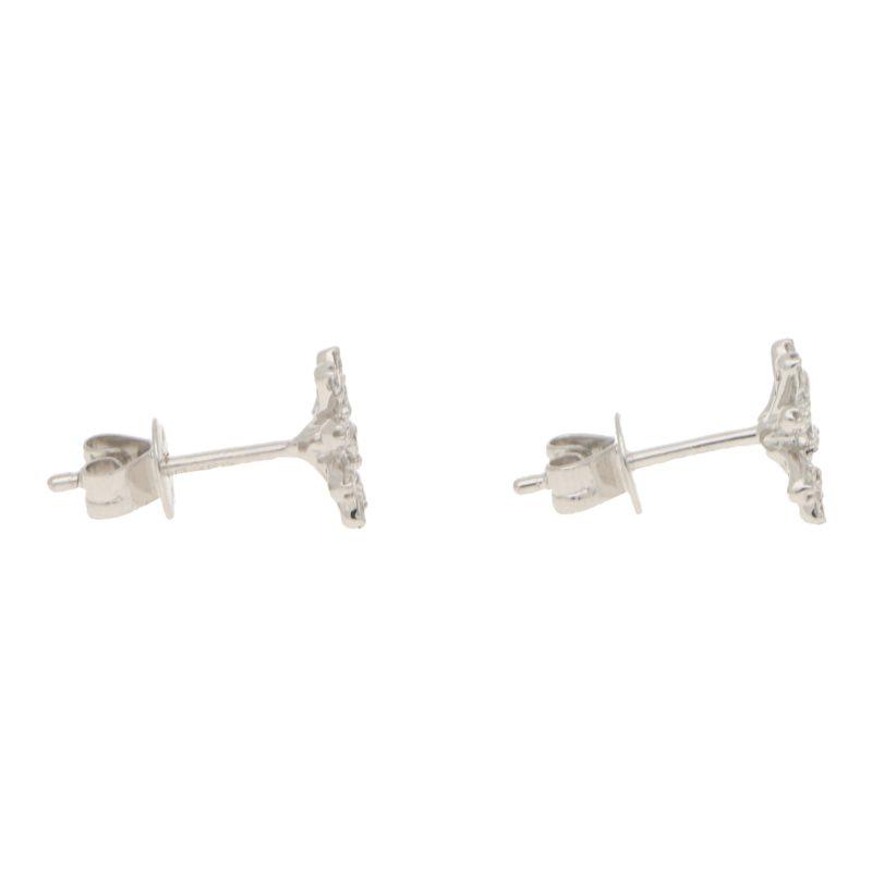 White Diamond Daisy Flower Stud Earrings