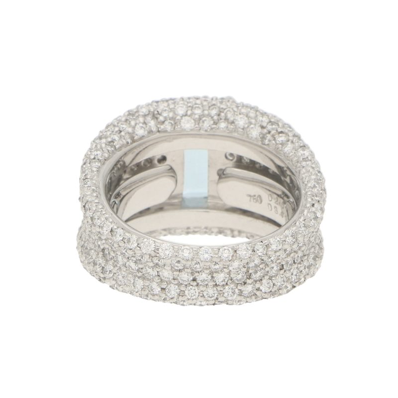 Emerald Cut Aquamarine and Diamond Bombe Ring in White Gold