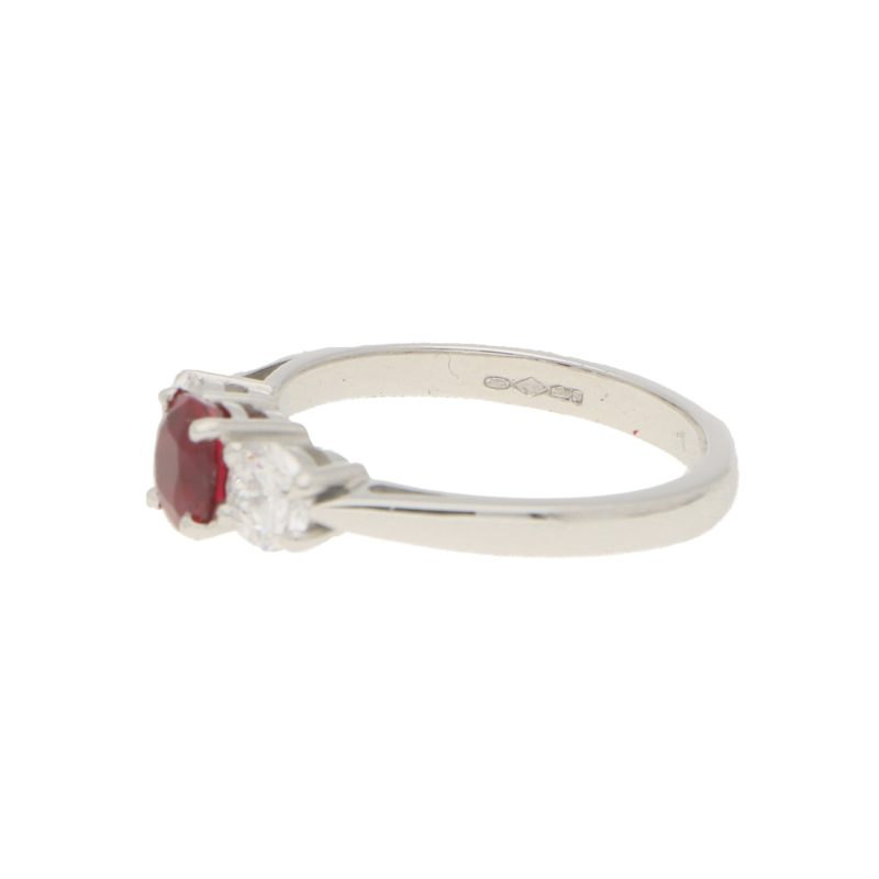 Ruby and Diamond Trilogy Engagement Ring in White Gold
