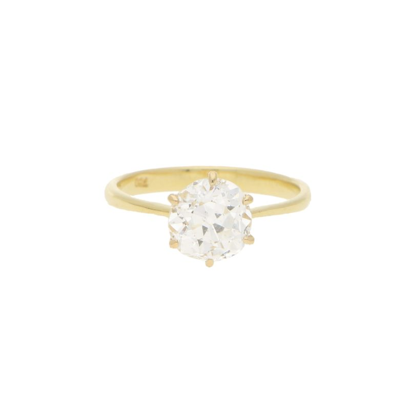 Old Mine Cut Diamond Engagement Ring in Yellow Gold