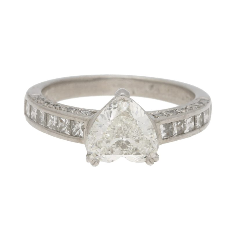 Heart and Princess Cut Diamond Engagement Ring