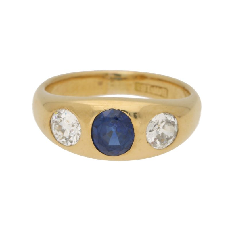 Sapphire and Diamond Gypsy Ring in Yellow Gold