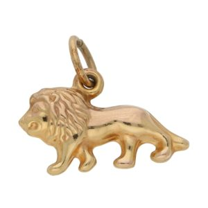 Vintage Lion Charm in Yellow Gold