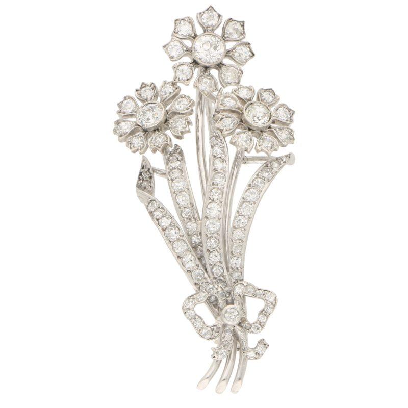 Old Cut Diamond Flower Bouquet Brooch