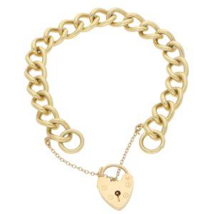 Vintage Heart Padlock Charm Link Bracelet in Yellow Gold