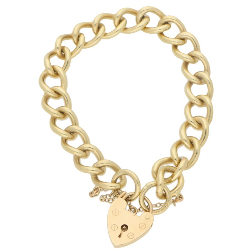 Vintage Heart Padlock Charm Link Bracelet in Yellow Gold