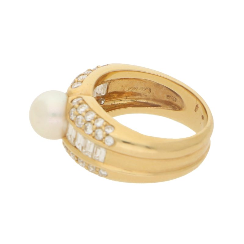 Cartier Pearl and Diamond Bombe Ring in Yellow Gold
