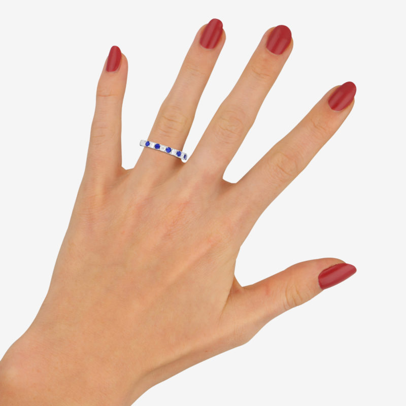 Diamond and Sapphire Half Eternity Ring in 18k White Gold