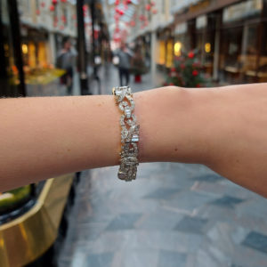 Art Deco Inspired Marquise Diamond Bracelet in White Gold