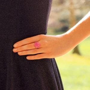 Hydrangea Briolette Pink Sapphire Cluster Ring
