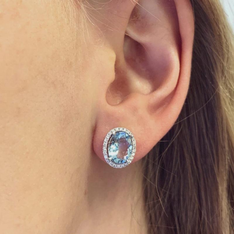 Aquamarine And Diamond Cluster Stud Earrings