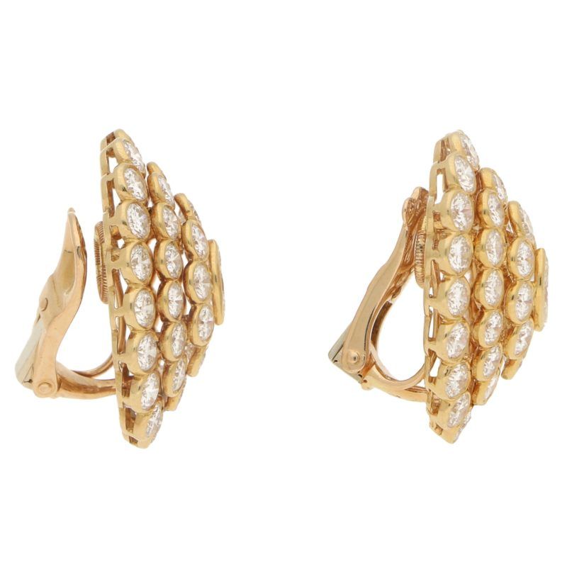 Cartier Marquise Diamond Cluster Earrings in Yellow Gold