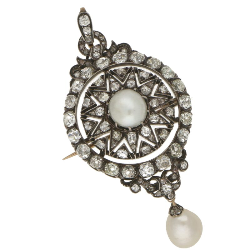 Convertible Victorian Pearl and Diamond Brooch Pendant