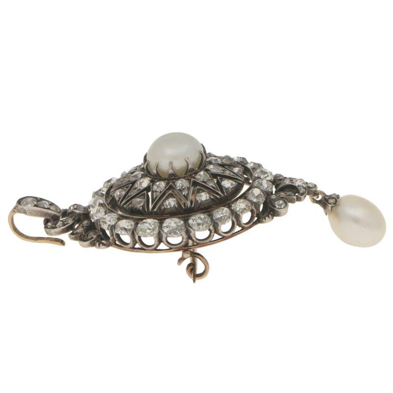 Convertible Victorian Pearl and Diamond Brooch Pendant