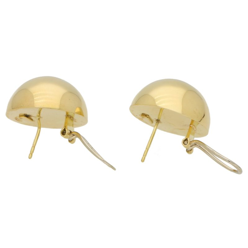 Large Circular Dome Earrings in 14k Yellow Gold