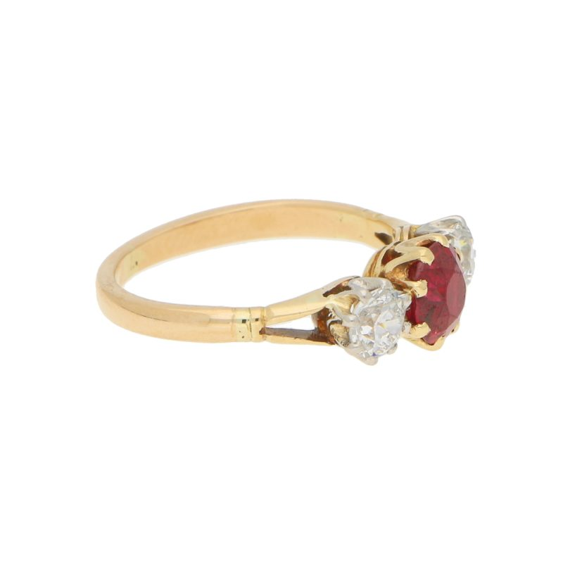 Burmese Red Ruby and Old Mine Cut Trilogy Ring