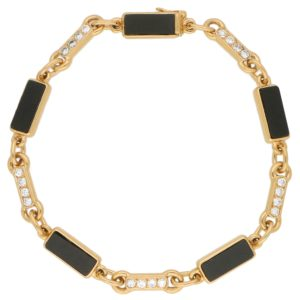 Van Cleef and Arpels Onyx and Diamond Chain Bracelet