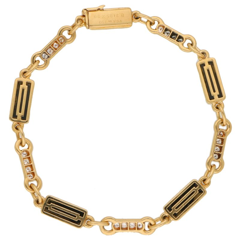 Vintage Van Cleef and Arpels Onyx and Diamond Chain Bracelet