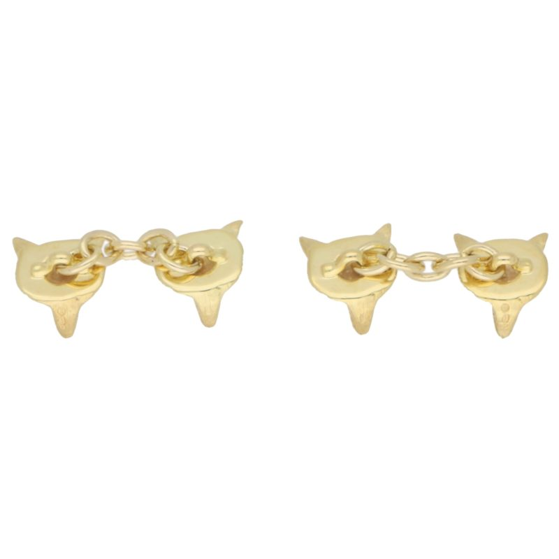 Ruby Eyed Fox Head Cufflinks in 9k Gold