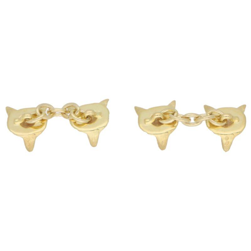Ruby Eyed Fox Head Cufflinks in 9k Gold