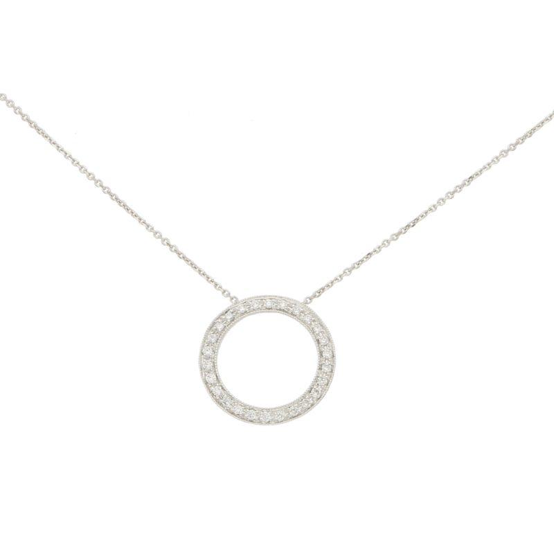 Diamond Circle Pendant Set in White Gold