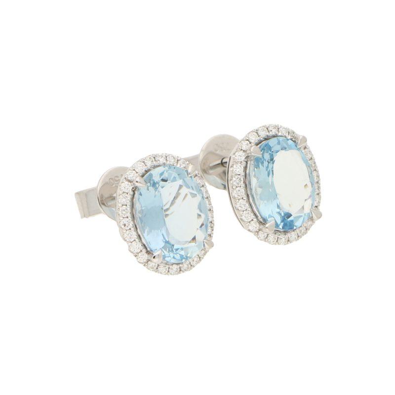 Aquamarine and Diamond Cluster Halo Earrings