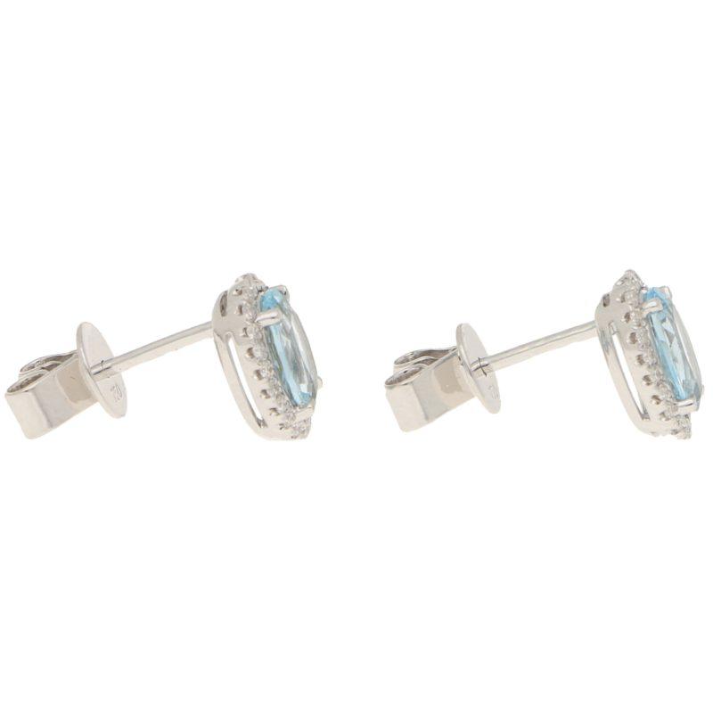 Aquamarine and Diamond Halo Stud Earrings