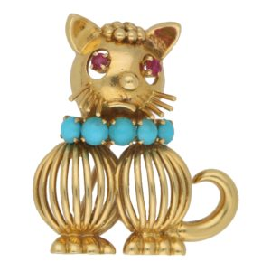 1960's Ruby and Turquoise Cat Brooch in Yellow Gold