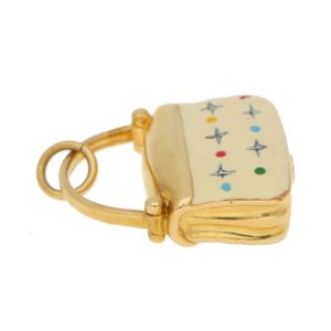 Vintage White Enamel Handbag Charm in Yellow Gold